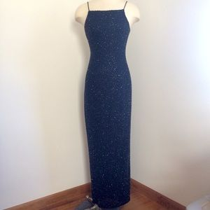Blue beaded formal gown